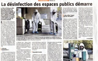 Journal l'Alsace désinfection du mobilier urbain de la ville de Mulhouse Covid-19